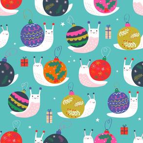 """Large 18"""" - Christmas Bauble Snails Blue"""