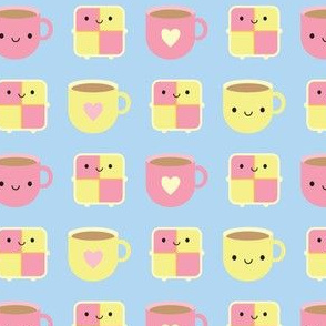 Kawaii Battenberg Cake & Cup of Tea