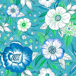 Chintz Blossoms in Blue