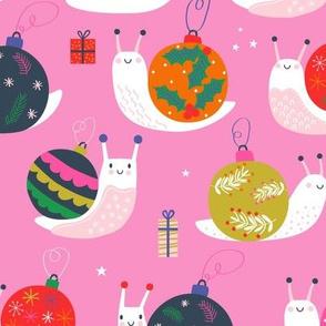 "Medium 12"" - Christmas Bauble Snails Pink"