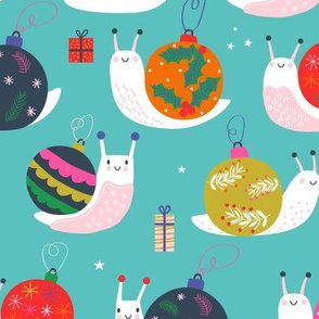 "Medium 12"" - Christmas Bauble Snails Blue"
