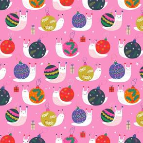 "Medium 12"" - Christmas Bauble Snails Pink-ed"