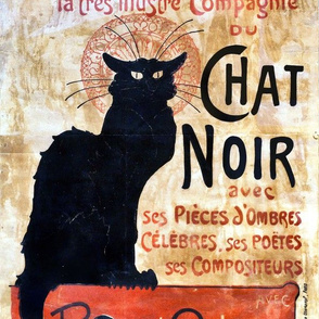 Le Chat Noir, Vintage Black Cat Poster, DIY Pillow or Tea Towel