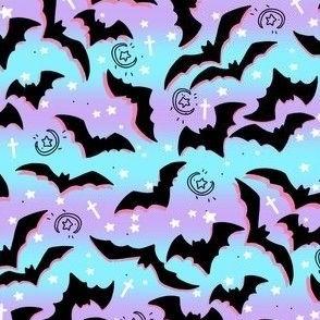 Pastel Goth Bats on Purple Stripes