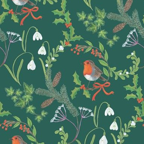 Christmas chintz with robin on dark green