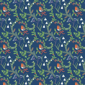 Christmas chintz with robin on dark blue