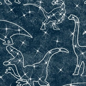 Constellation dinosaurs on midnight blue - large scale
