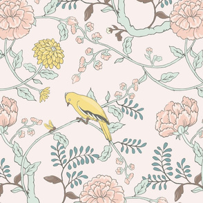 Goldfinch and Cabbage Rose