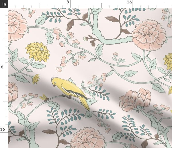 Fabric By The Yard Goldfinch And Cabbage Rose