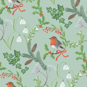 Christmas chintz with robin on pale green