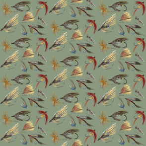 Fly Fishing Lures 2 - Small Print on green-background