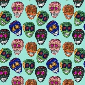Mexican Skulls in Blue