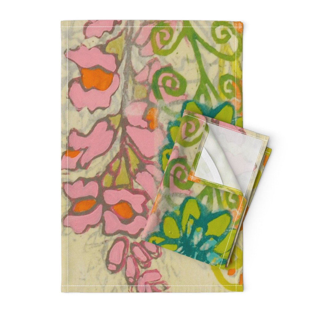 Orpington Tea Towels featuring Snapdragons Art Deco Garden by maria_pezzano