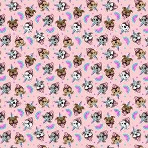(micro scale) Unicorn Pit Bulls - pit bull unicorns  - pink and purple - LAD19BS