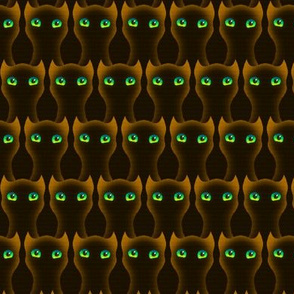 Halloween Chocolate Kitties - Black Orange Brown Green Eyed Owl Cats