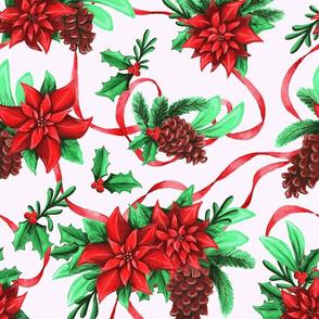 Holiday Poinsettia Chintz