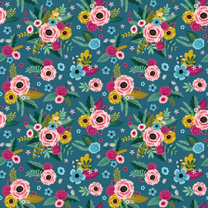 Painted Flowers on dark teal