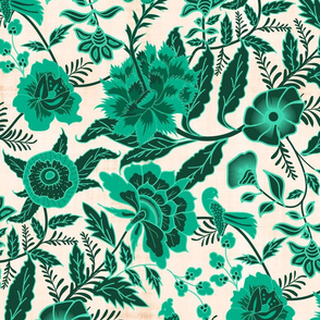 Vintage Botanical Chintz Filigree- Teal Traditional Florals Palampore- Large Scale