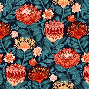 Protea Chintz - Navy (Large Version)