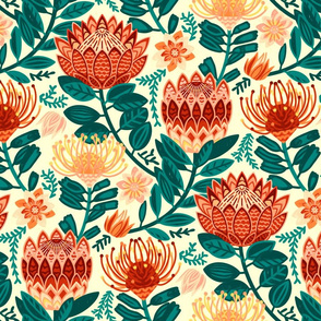 Protea Chintz - Orange & Navy (Large Version)
