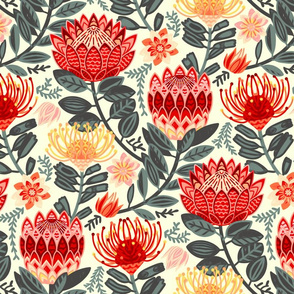 Protea Chintz - Grey & Red (Large Version)