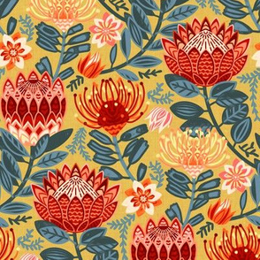 Protea Chintz - Mustard- (Small Version)