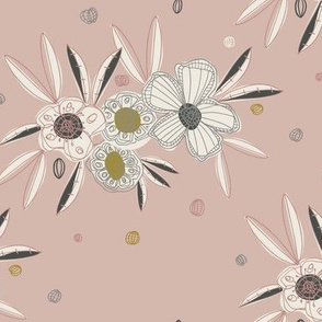 Linear Pink Floral Flowers Gold White Charcoal Grey