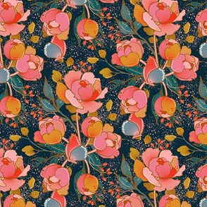 Magical peony Chintz / blue background / S