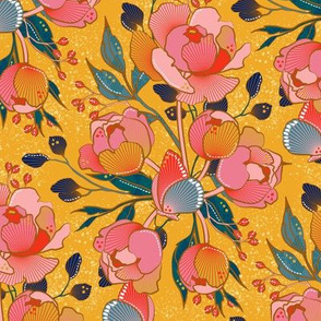 Magical peony Chintz / yellow backgr. / M