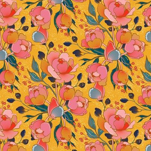 Magical peony Chintz / yellow background / S