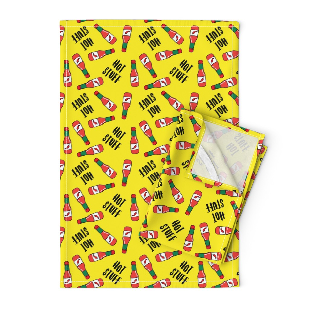 Orpington Tea Towels featuring Hot stuff - hot sauce bottle - yellow - LAD19 by littlearrowdesign