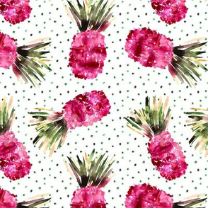 Pink pineapples with lots of dots • watercolor surreal tropical print