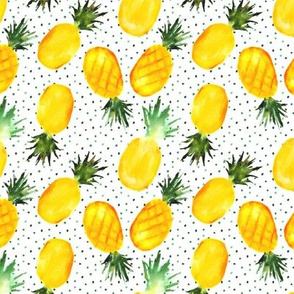 Watercolor pineapples with lots of dots