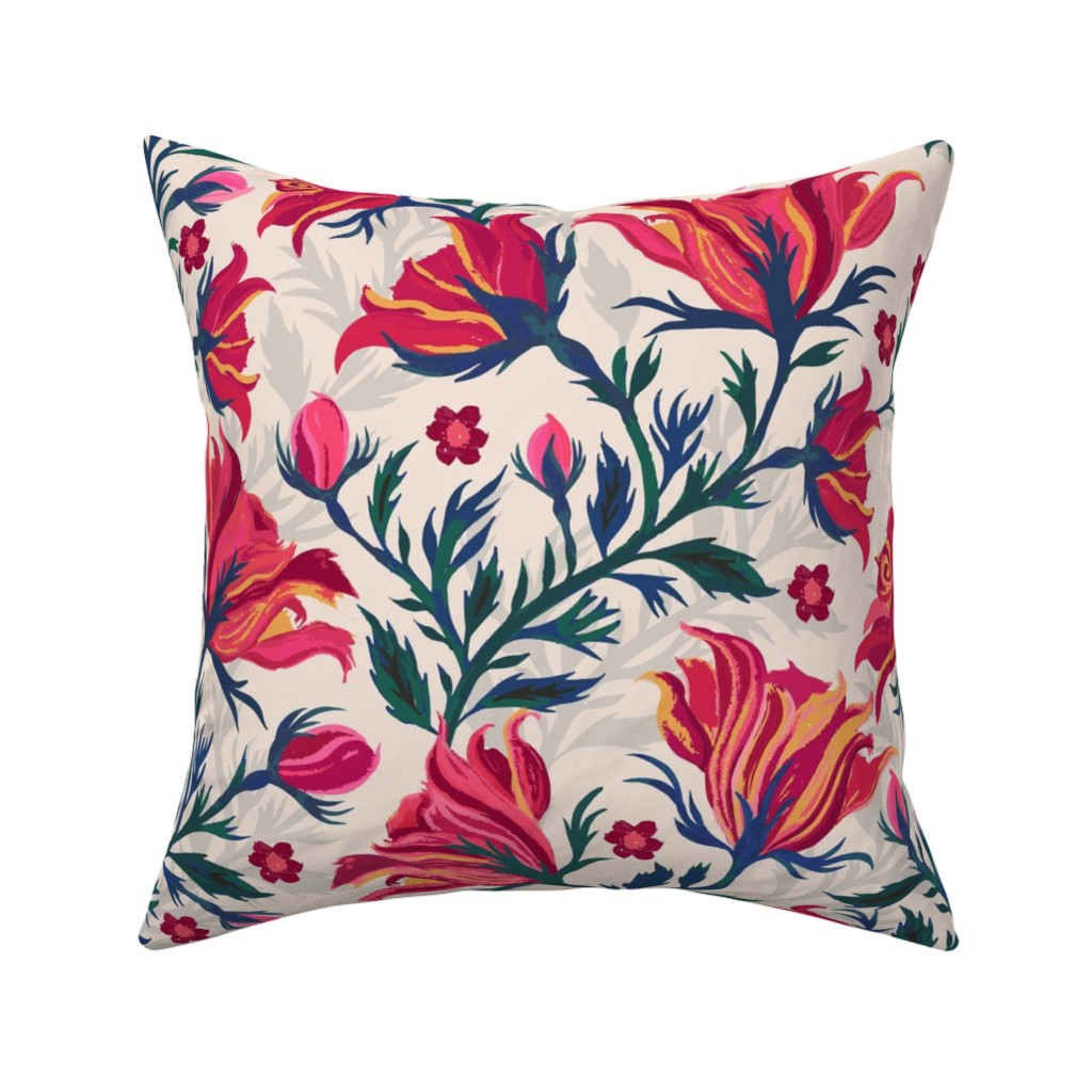 Catalan Throw Pillow featuring Indian_Chintz by jill_o_connor