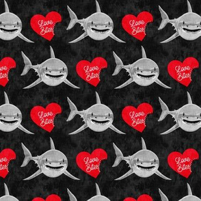 Love Bites - Shark Valentines - black and red - LAD19