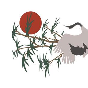 Crane on White  Tea Towel