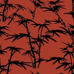 Black Bamboo bush on Red background