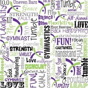Gymnastics Words Fabric Purple-ch
