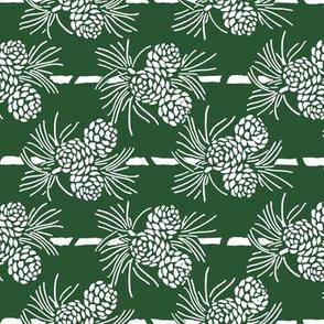 Christmas Tea Towels: Green & White Pine Cones