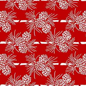 Christmas Tea Towels: Red & White Pine Cones