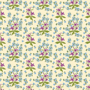 stylized chintz flowers cream