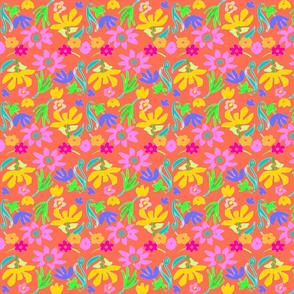 BRIGHT FLOWERS AND ORANGE -