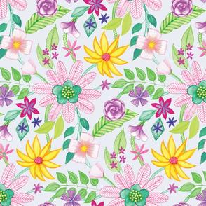 Coloured Pen Floral by Gabrielle Cave