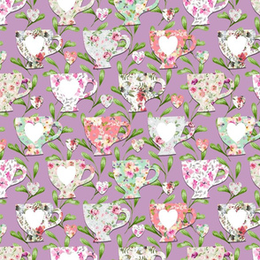 Chintz Teacups Purple