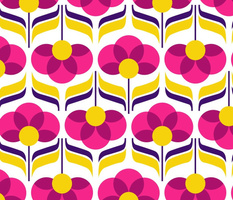 jewel retro flowers - pink and yellow