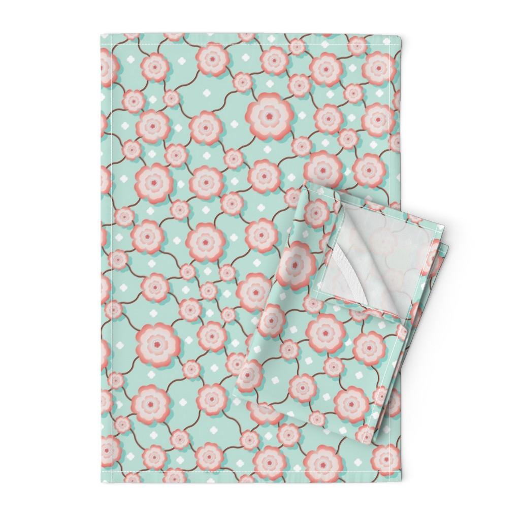 Orpington Tea Towels featuring Sakura Chintz - © Autumn Musick 2019 by autumn_musick
