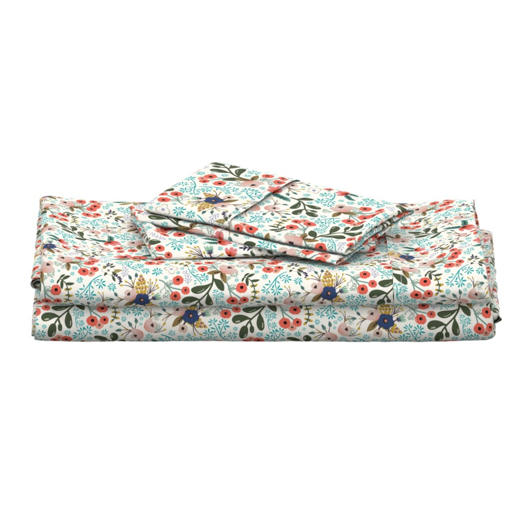 Langshan Full Bed Set featuring poppy bloom by narae_studio