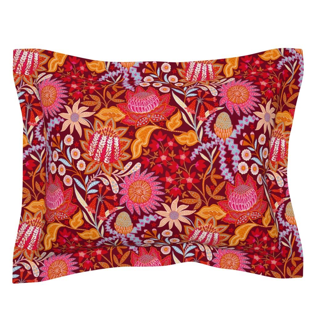 Sebright Pillow Sham featuring Australian Christmas Chintz by helenpdesigns