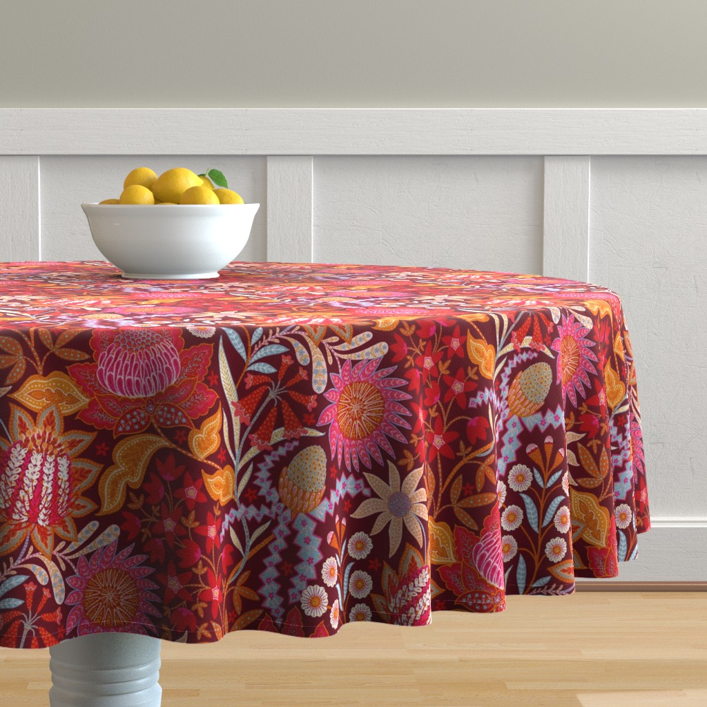 """Malay Round Tablecloth featuring Australian Christmas Chintz 18"""" by helenpdesigns"""