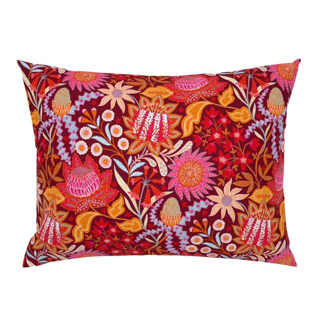 Campine Pillow Sham featuring Australian Christmas Chintz by helenpdesigns